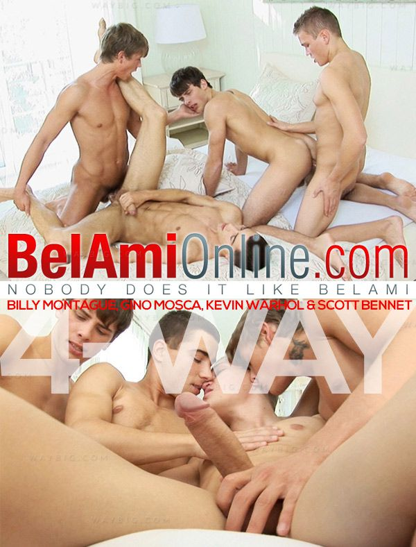 BelAmiOnline – Billy Montague, Gino Mosca, Kevin Warhol & Scott Bennet (4-Way) (Parts 1 & 2)