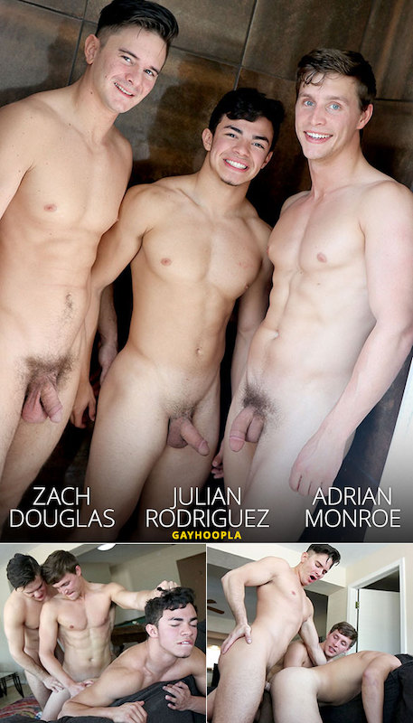 GayHoopla – Julian Rodriguez First-Time Bottom: Double-Teamed By Zach Douglas And Adrian Monroe