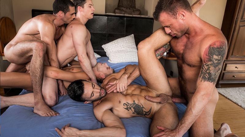 LucasEntertainment – Ruslan Angelo's Five-Man Bareback Orgy (Bareback)