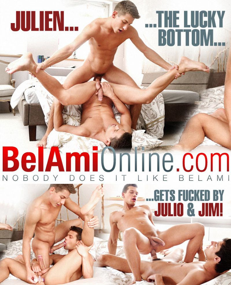 BelAmiOnline – Julien Hussey Gets Fucked By Jim Kerouac and Julio Bardem (Bareback) (Parts 1 & 2)